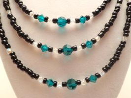 Donated - Triple Strand Black and Teal Set 13 by TheSortedBead