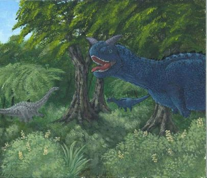 Calling for Reinforcements - Carnotaurus by Tyrannosaur17