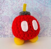Red Bob-Omb Amigurumi Plushie by MadameWario
