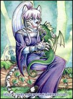 White Tigress with Dragonling by lady-cybercat