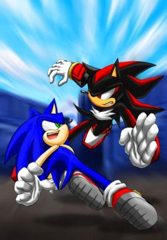 Sonic VS Shadow Always fight by maruringo