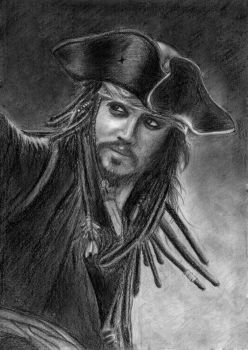 Sketch of Captain Jack Sparrow by leonjie