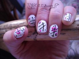 Nail art flowers and stripes by Kythana