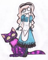 Alice and Cheshire colored by MyaTheSquishyOctopus