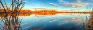 Riverbend Pond Panorama by MirMidPhotos