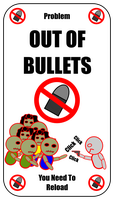 Out Of Bullets Card For Zombie Run Game by flowofwoe