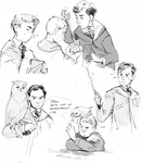 Sherlock/Harry Potter crossover doodles by Barukurii