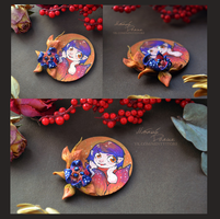 Wooden painted brooch: little fairy by orum-the-cat
