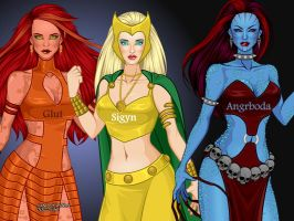 Loki's wives: Glut, Sigyn and Angrboda by LadyRaw90