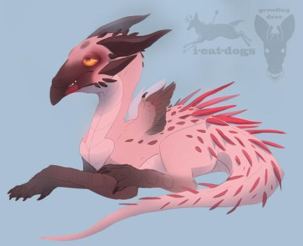 lesser flamingo baby dragon AUCTION by growling-deer