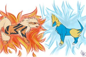 SS: Arcanine and Manectric by sasuxsaku842