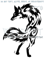 Alert Paw Print Fox Tribal Design by WildSpiritWolf