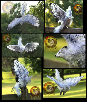 SOLD HANDMADE Poseable Winged Fantail Moon Wolf! by Wood-Splitter-Lee