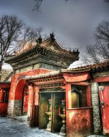 Hongluo Temple Interior of Gate Beijing China by davidmcb