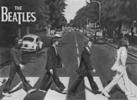 Beatles crossing Abbey Road by LohranRocha