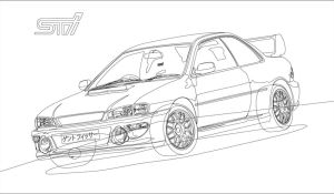 Subaru Impreza 22B STI Outline by Eraser89