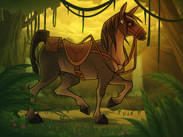 Trotting Along the Jungle - Horse Rider by Dragoart