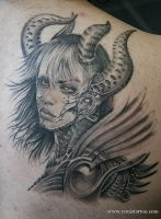 Warrior girl tattoo by Remistattoo