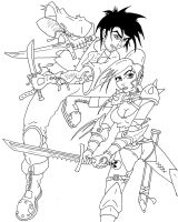 Brigand and Elf - lines by coldangel1