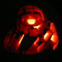 Halloween Pumpkin 2012 - Master Chief by YDdraigGogh