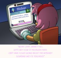 Ask STC Amy Rose - Amy Does a Strongbad by MamboCat