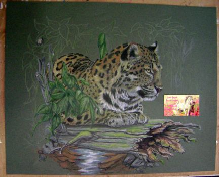 Leopard lounging on a log... WIP by Artsy50