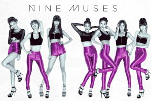 Nine Muses  B/W and Pink by KawaiiLoliGirl
