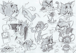 Tom and Jerry Sketches by AquaTemple