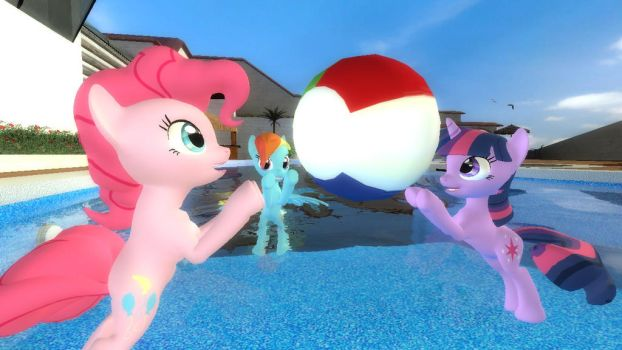 Ponies playing in the pool by kwark85