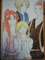 Claire, Leon, Sherry andy Jake by mariajesus1993