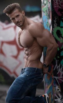Blue Jeans + Huge Pecs by BigBergMan