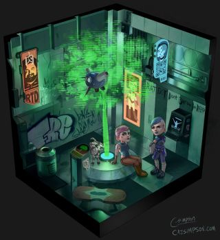 Cyberpunk Courtyard by ChicoBlue