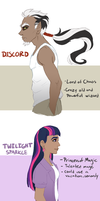 Humanized Ponies Concept set 1 Discord/Twilight by Lopoddity
