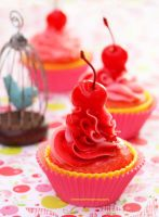 Cherry Cupcakes w/ Strawberry n Cherry Frosting by theresahelmer