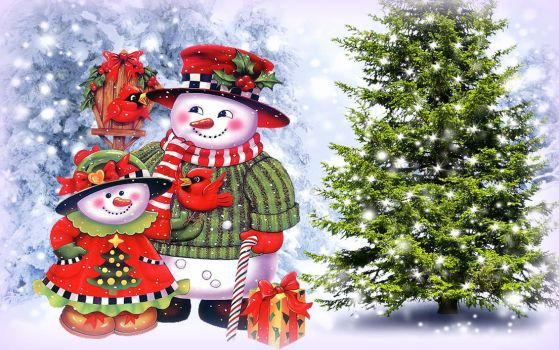 Snowman Family in Christmas by PreciousBliss