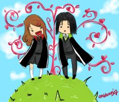 chibi severus and lily by cutekakashi