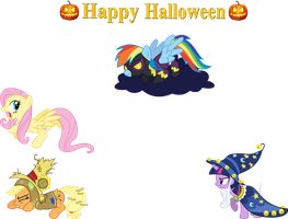 Happy Halloween with the Mane 4 by LMan225
