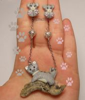 Grey cats earring and necklace with wood by Elfetta2007