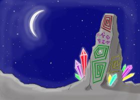 Megalith with crystals by MelianOfMist