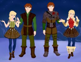 Hiccup and Astrid from How to train your Dragon by Miranda088