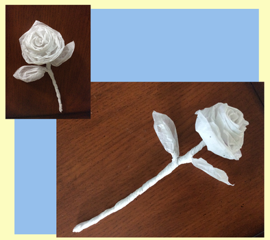 Stemmed Rose with 2 leaves by origami-roses
