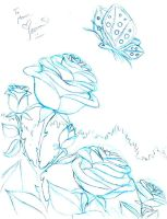 Roses for Mom--Sketch by PadawanLinea