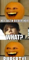 JB and Annoying orange 8D by VanillaBlackkitty