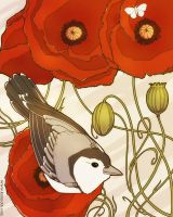 Grey Bird, Red Flowers by KiriMothDesigns
