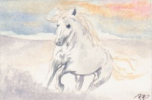 Horse Watercolor Painting by Zombiek9