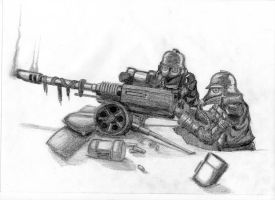 Death Korps Autocannon Team by Bozikis