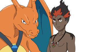 Charizard And Kiawe by DragonChaser123