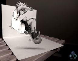 Killua 3D DRAWING ON PAPER by Iza-nagi