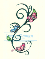 Vine and Butterflies Tattoo Design by InsaneRoman