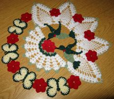 Hummingbirds, Butterflies, and Roses Doily by doilydeas